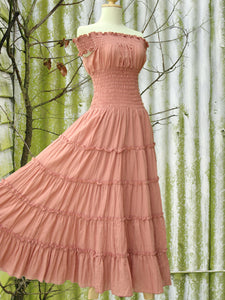 Off the Shoulder Dress Tiered Maxi Dress in Peach