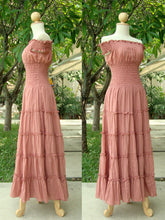 Load image into Gallery viewer, Off the Shoulder Dress Tiered Maxi Dress in Peach