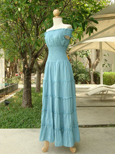 Light Pastel Blue Cotton Tiered Maxi Dress