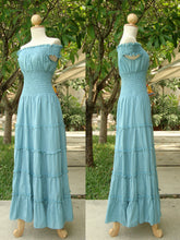 Load image into Gallery viewer, Light Pastel Blue Cotton Tiered Maxi Dress