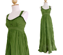 Load image into Gallery viewer, Women Cotton Lace Maxi Dress Sundress - Green