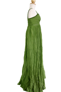 Women Cotton Lace Maxi Dress Sundress - Green