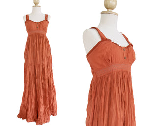 Long cotton Lace Maxi Dress Sundress - Orange