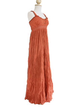 Load image into Gallery viewer, Long cotton Lace Maxi Dress Sundress - Orange