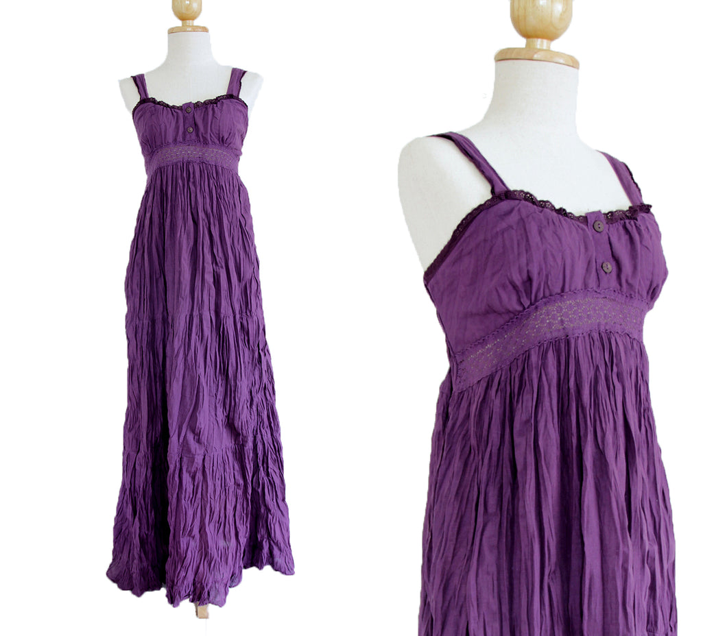 Purple Cotton Sundress Lace Maxi Dress