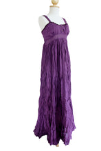 Load image into Gallery viewer, Purple Cotton Sundress Lace Maxi Dress