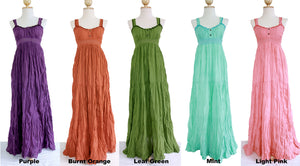 Women Cotton Sundress Lace Maxi Dress
