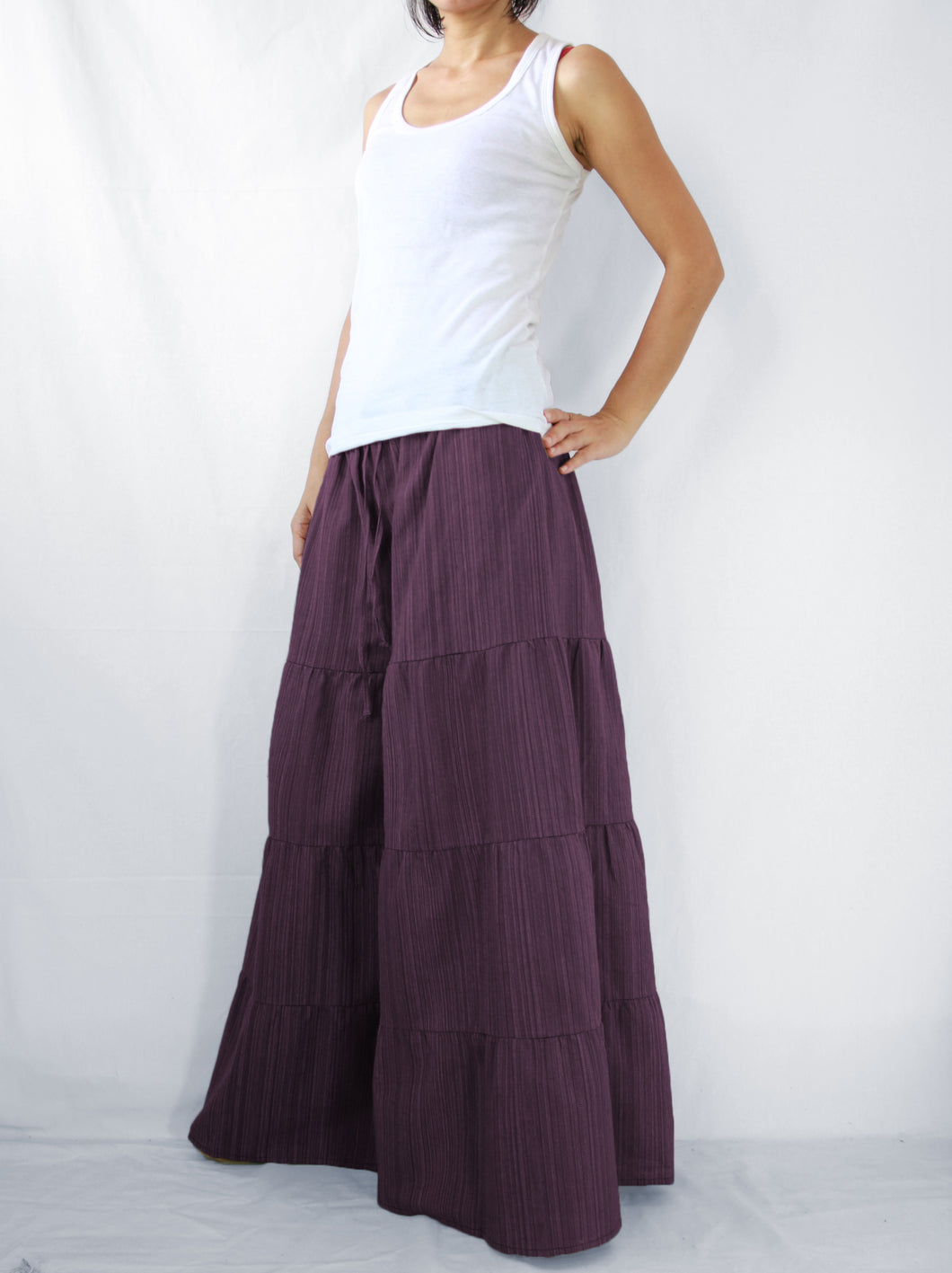 Burgundy Wide Leg Pants Casual Flare Trousers