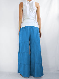 Wide Leg Pants Casual Flare Trousers - Ocean Blue