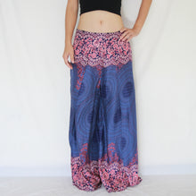 Load image into Gallery viewer, Open Front Slit Palazzo Pants - Blue Mandala Print