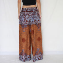 Load image into Gallery viewer, Open Front Slit Palazzo Pants - Mustard Mandala Print