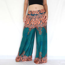 Load image into Gallery viewer, Open Front Slit Palazzo Pants - Green Mandala Print