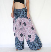 Load image into Gallery viewer, Open Front Slit Palazzo Pants - White Mandala Print