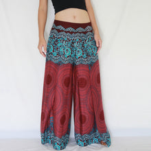 Load image into Gallery viewer, Open Front Slit Palazzo Pants - Red Mandala Print