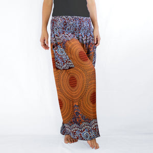 Women Genie Pants with Pockets - Bronze Mustard Mandala