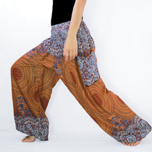 Load image into Gallery viewer, Women Genie Pants with Pockets - Bronze Mustard Mandala