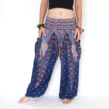Load image into Gallery viewer, Women Genie Pants - Navy Blue Peacock Feathers