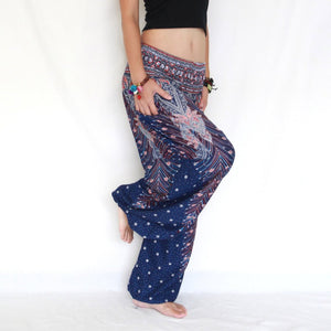Women Genie Pants - Navy Blue Peacock Feathers