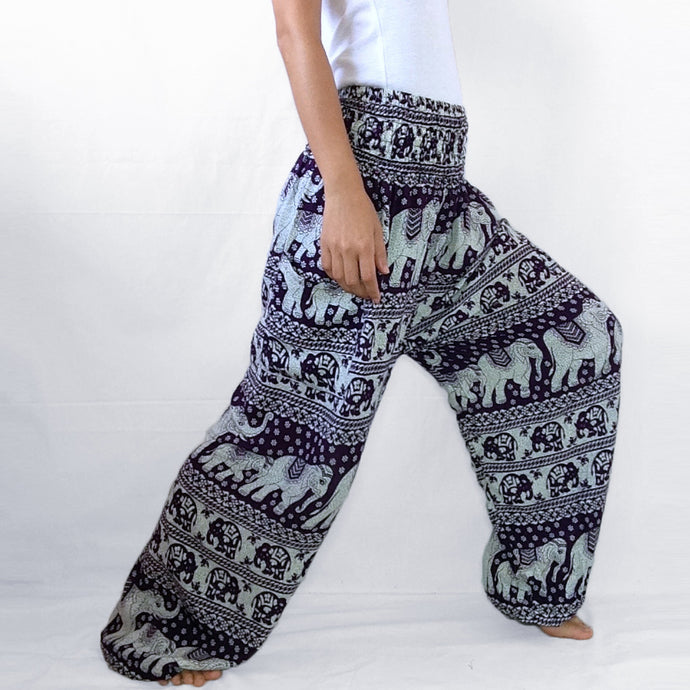 Women Genie Pants - Purple Elephant