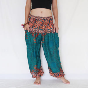 Women Genie Pants - Green Mandala