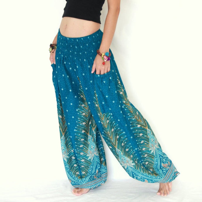 Women Genie Pants - Green Peacock Feathers
