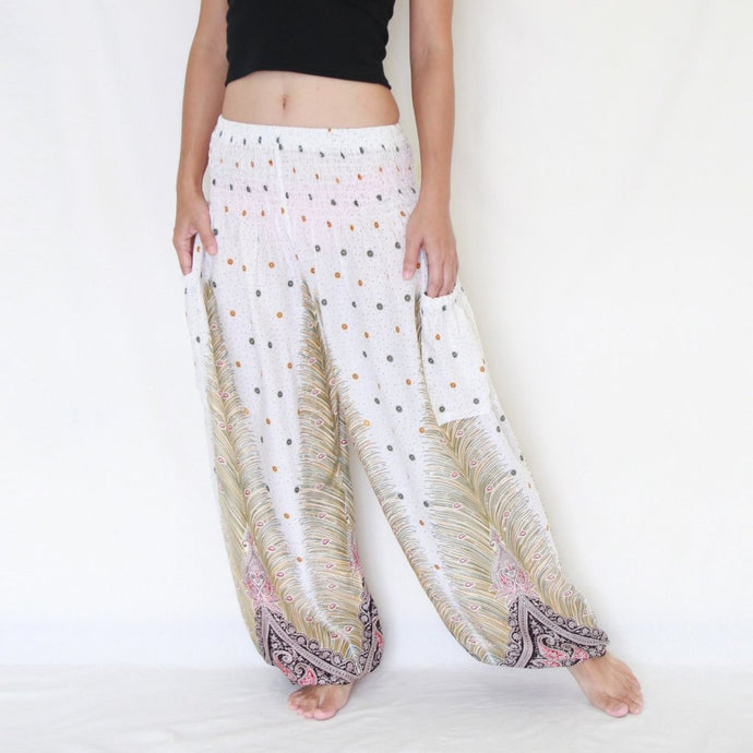 Genie Pants - White Peacock Feathers