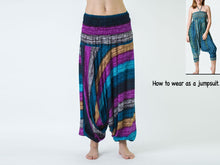 Load image into Gallery viewer, Women Yoga Jumpsuit Harem Pants - Blue Purple Boho Stripes