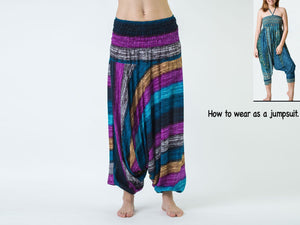 Women Yoga Jumpsuit Harem Pants - Blue Purple Boho Stripes