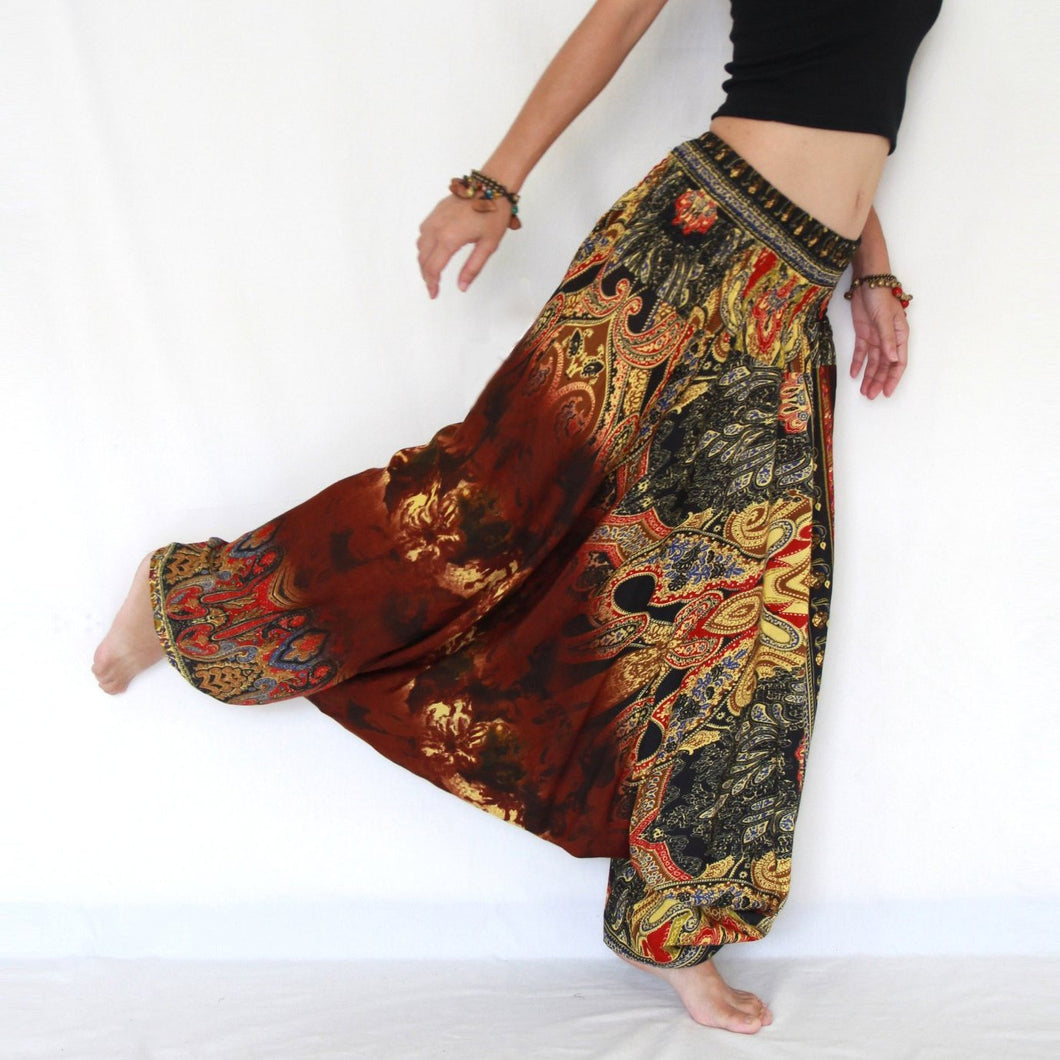 Women Yoga Jumpsuit Harem Pants - Brown Tie Dye