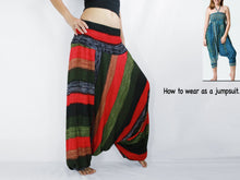 Load image into Gallery viewer, Women Yoga Jumpsuit Harem Pants - Green Boho Stripes
