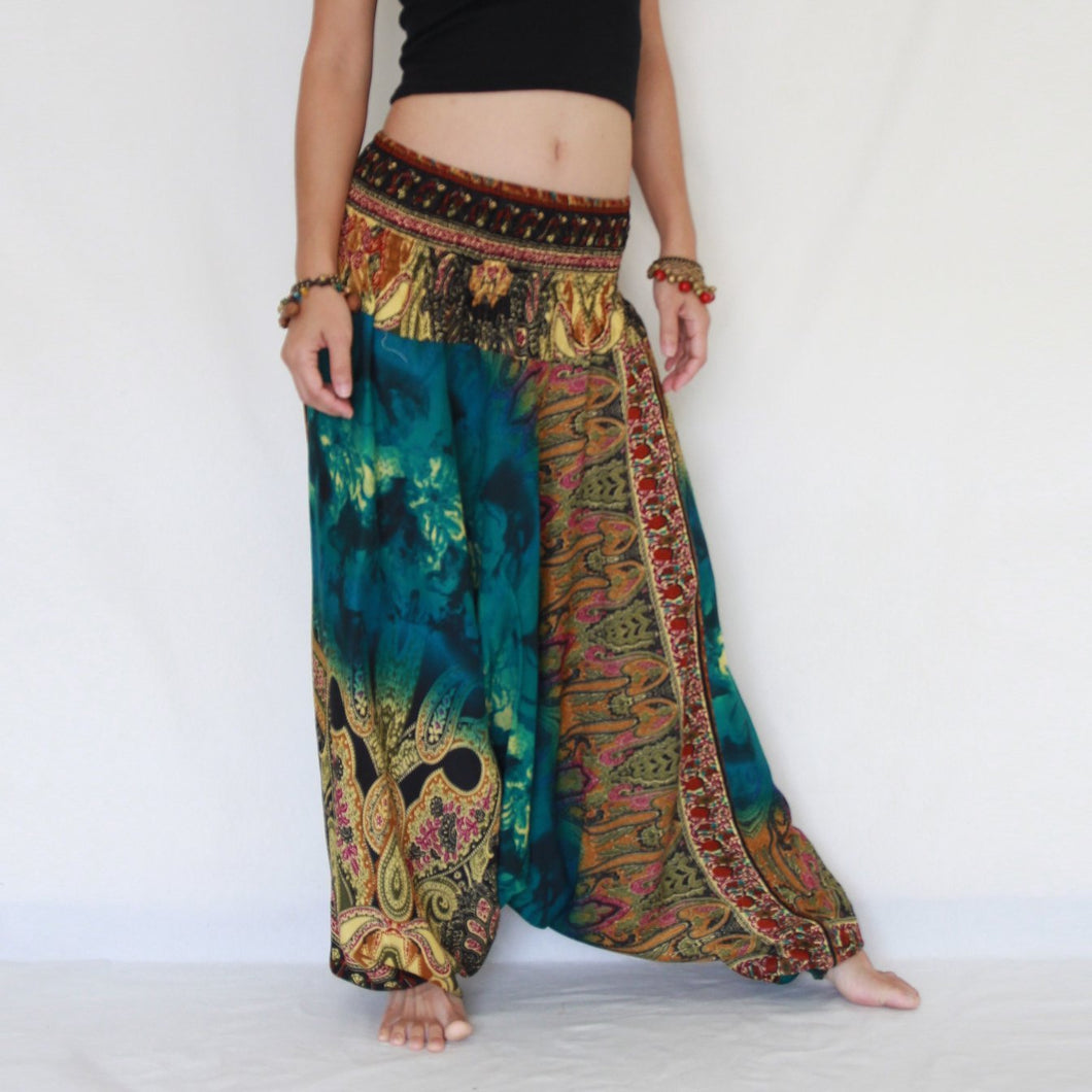 Women Yoga Jumpsuit Harem Pants - Green Tie Dye
