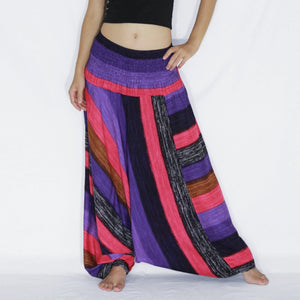 Women Yoga Jumpsuit Harem Pants - Hot Pink Boho Stripes