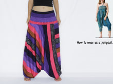 Load image into Gallery viewer, Women Yoga Jumpsuit Harem Pants - Hot Pink Boho Stripes