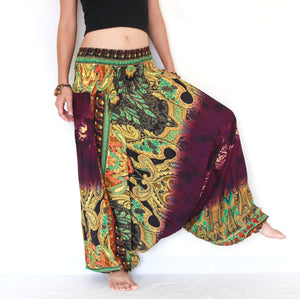 Women Yoga Jumpsuit Harem Pants - Purple Tie Dye