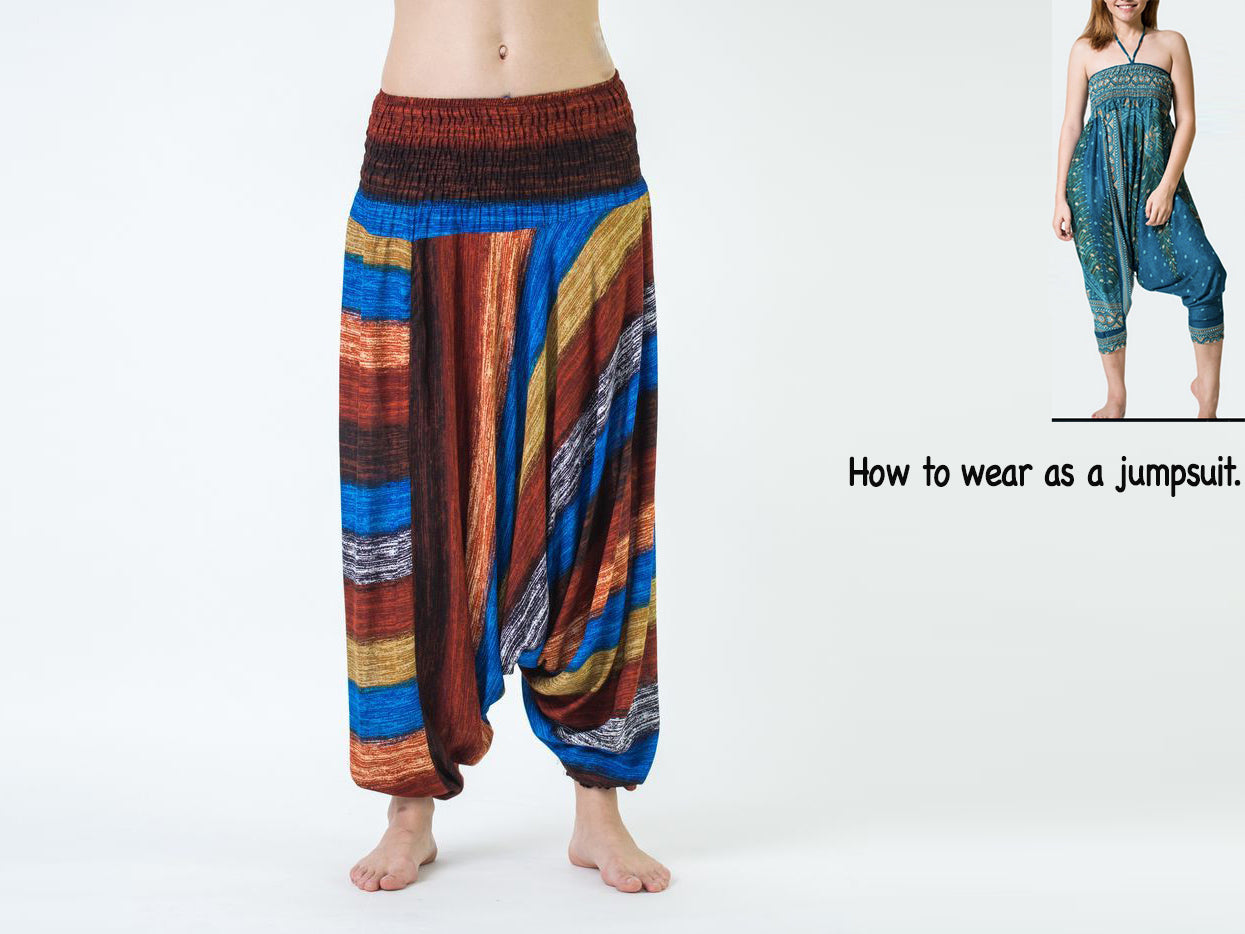 e63b9be9a429 ... Load image into Gallery viewer, Women Yoga Jumpsuit Harem Pants - Brown  Boho Stripes