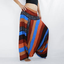 Load image into Gallery viewer, Women Yoga Jumpsuit Harem Pants - Brown Boho Stripes