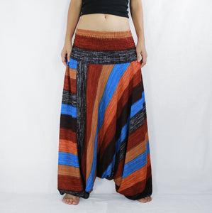 Women Yoga Jumpsuit Harem Pants - Brown Boho Stripes
