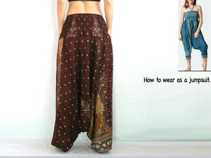 Women Yoga Jumpsuit Harem Pants - Brown Peacock
