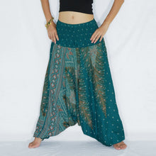 Load image into Gallery viewer, Women Yoga Jumpsuit Harem Pants - Turquoise Peacock