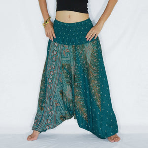 Women Yoga Jumpsuit Harem Pants - Turquoise Peacock