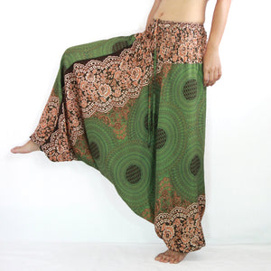 Women Yoga Jumpsuit Harem Pants - Olive Green Mandala