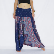 Load image into Gallery viewer, Women Yoga Jumpsuit Harem Pants - Navy Blue Peacock