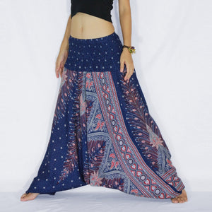 Women Yoga Jumpsuit Harem Pants - Navy Blue Peacock