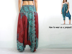 Women Yoga Jumpsuit Harem Pants - Red Mandala