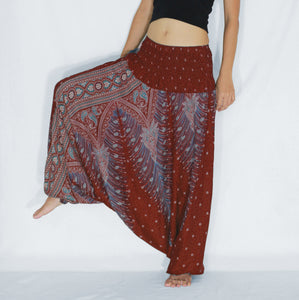 Women Yoga Jumpsuit Harem Pants - Red Peacock