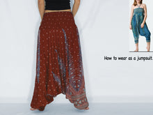 Load image into Gallery viewer, Women Yoga Jumpsuit Harem Pants - Red Peacock