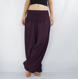 Women Yoga Jumpsuit Harem Pants - Burgundy