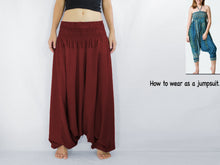 Load image into Gallery viewer, Women Yoga Jumpsuit Harem Pants - Dark Red
