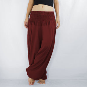Women Yoga Jumpsuit Harem Pants - Dark Red