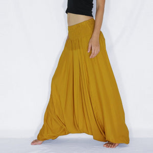 Women Yoga Jumpsuit Harem Pants - Mustard